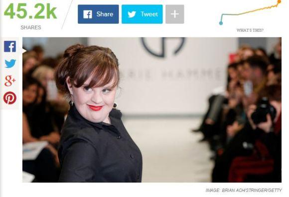 Screenshot (c) http://mashable.com/2015/02/12/model-down-syndrome-new-york-fashion-week/#:eyJzIjoiZiIsImkiOiJfaTg3MHhrNjIzMGx0Mjk3dCJ9